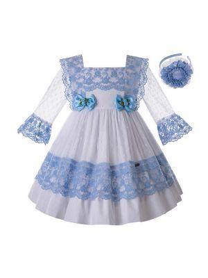 Girls Light Blue Lace Wedding Dress + Handmade Headband