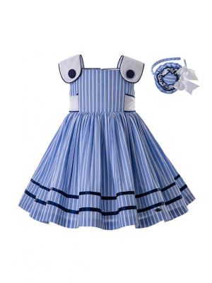 Blue Summer Violet Girls Dress With Stripe Party Dress + Handmade Headband