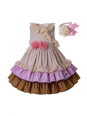 Beige Wedding Summer Pink Flower Lovely Girls Dress With Headband