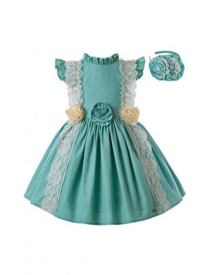 Mint Green Princess Dress With Stereoscopic Flower + Handmade Headband