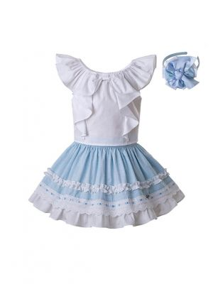 3 Pieces New Summer Girls Clothing Set With Headwear Sleeveless White Top+Blue Skirt Kids Outfit+ Handmade Headband