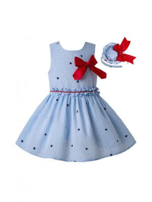 (Only 10Y) 2020 Light Blue Girls Ruffles England Style With Red Bow Layered Dress + Hand Headband