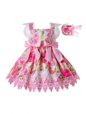 Girls Fly Sleeve Lace Flower Summer Dress with Cute Pink Bows + Handmade Headband