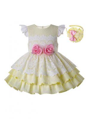 Light Yellow Girls With Pink Flowers Kids Princess Dress + Handmade Headband