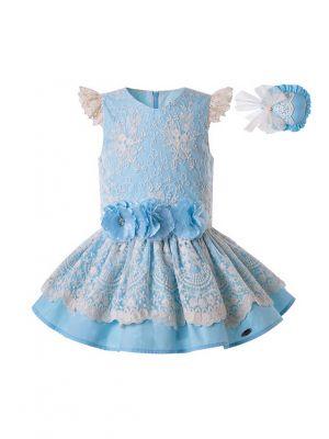 Girls Summer Blue Stereoscopic Flower Layered Lace Dress  + Handmade Headband