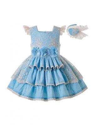 Girls Summer Blue Flower Wedding Party Dress With Layered Lace + Handmade Headband
