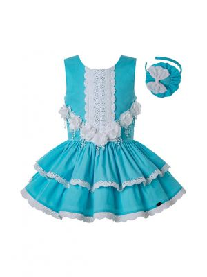 Girls Summer White Flower Blue Cotton Lace Sleeveless Party Dress + Handmade Headband