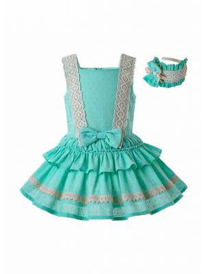 Lace Bow-knot Dress&Hairband Set
