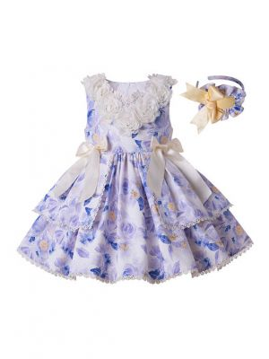 2020 Flowers Boutique Girls Ruffles England Style Layered Dress + Hand Headband