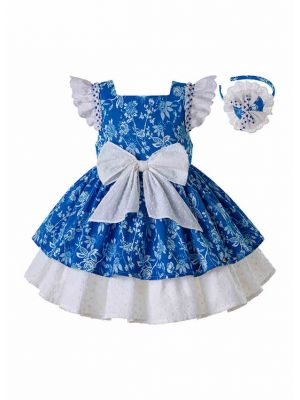 Babies Summer Flower Blue dress With White Bow + Handmade Headband