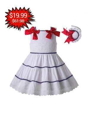 New White Navy Lace Girls Dress With Red Dot Bows + Handmade Headband