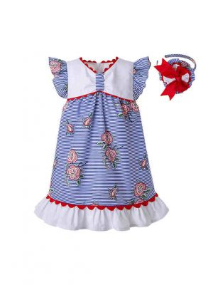 Baby Blue Summer Printed Ruffled Dress Toddler Puff Sleeve Festival Dress + Handmade Headband