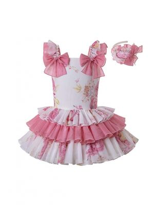 Boutique Girls Princess Floral Cute Bows Sweet Layered Dress + Hand Headband