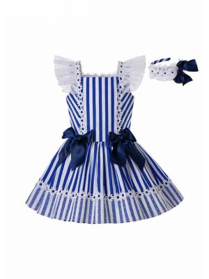 Girls Summer Deep Blue Cotton Flower Lace Stripe Princess Dress With Blue Bows + Handmade Headband