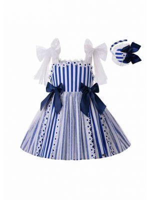 Girls Summer Blue Sling Flower Lace Stripe Princess Dress + Handmade Headband