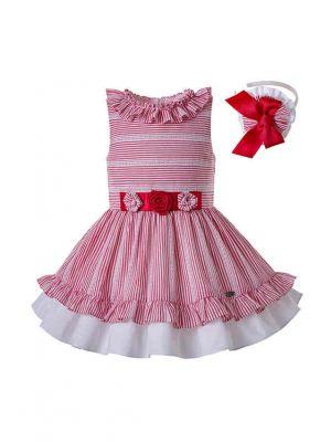 Striped Vest Ruffled Dress&Hairband