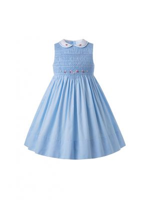 Blue Sleeveless Smocking Dress