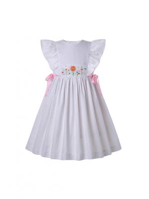 White Flower Embroidered Smocked Dress With Pink Ribbons