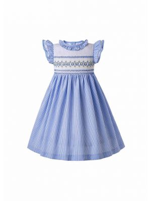 Light Blue Short Sleeves Smocked Dress