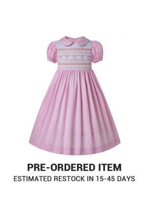 (PRE-ORDER)Doll Collar Hand Embroidery Light Pink Smocked Dress