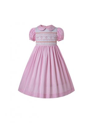 Doll Collar Hand Embroidery Light Pink Smocked Dress