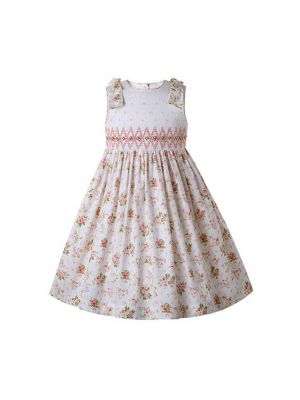 Flower Printed Sleeveless Smocked Dress