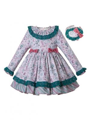 Girls Autumn Popular Color Rose Flower Green Lace Dress + Handmade Headband