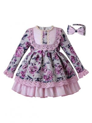 Thanksgiving Flower Girls Dresses With Lace Boutique Princess Dress + Hand Headband