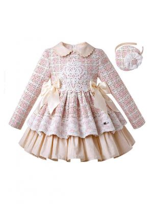 (Only Size 3Y&6Y) Girls Autumn Small Fragrance Tweed Dress + Handmade Headband