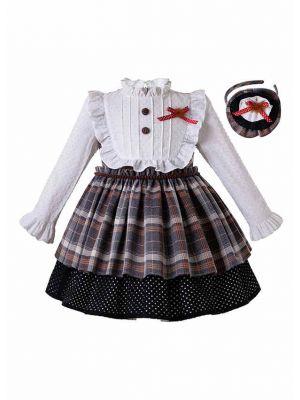 Girls Multi-Color Grid Ruffle Collar Elegant Kids Dress + Hand Headband