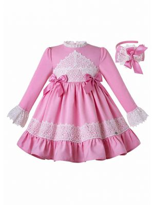 2020 Boutique Pink Lace Bows Ruffled Girls Dress + Hand Headband