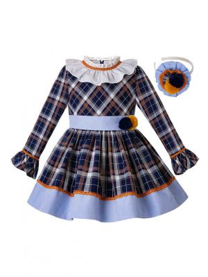 Thanksgiving Autumn Handmade Pom Pom Flare Sleeve Boutique Dress + Hand Headband