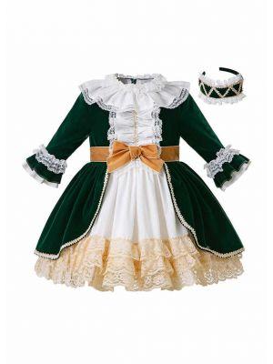 Autumn & Winter Christmas Princess Girls Layered Boutique Lace Dress + Hand Headband