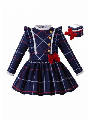 (Pre-sale Products) Girls Blue Grid School Uniform Style Bow Boutique Kids Dress + Hand Headband