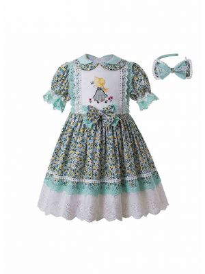 2020 Green Pleat Printed Turn-down Collar Vintage Dress + Hand Headband