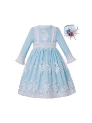 Girls Sky Blue Ribbons Embroidery Boutique Party Princess Dress + Hand Headband