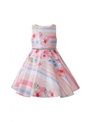 2021 Summer Flowers Pattern Stripes Sleeveless Girls Pink Dress