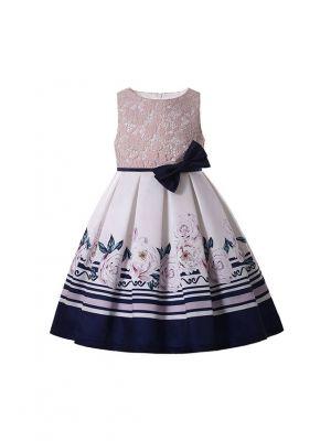 Girls Sleeveless Print Dress Lifelike Patterns Black Bow Belt Over Knee Length