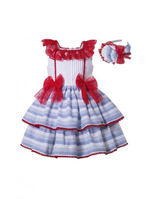 Summer Girls Plain Dyed Square Collar Layer Pary Princess Dress With Red Bows + Hand Headband