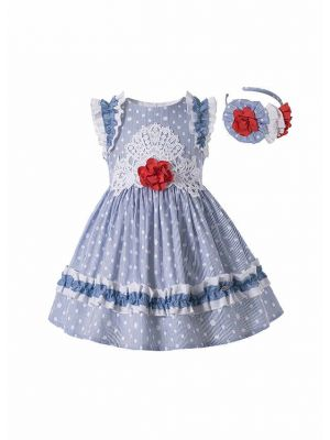 Girls Summer Plain Dyed Dot Boutique Dress With Red Flower + Hand Headband