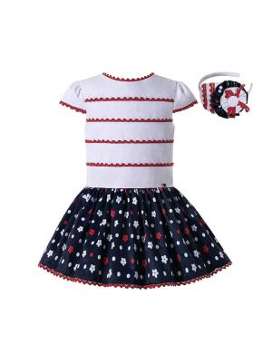 Girls Dress White Top with Red Stripe Black Floral Print Skirt + Headband