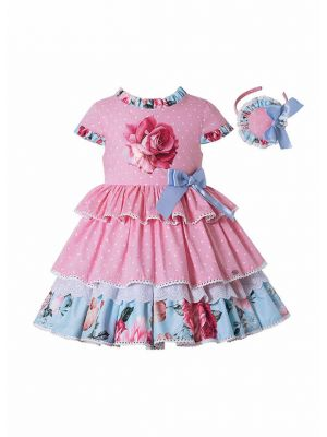 Pink Rose Floral Print Boutique Princess Girls Dress + Hand Headband