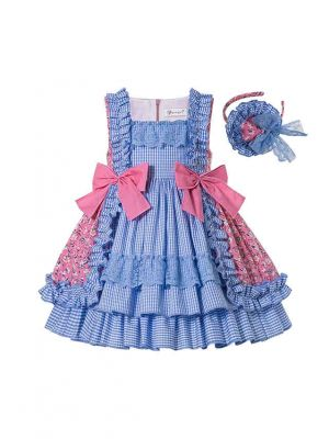 Summer Boutique Square Collar Blue Plaid Princess Girls Ruffle Dress With Bows + Hand Headband
