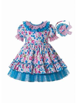 Girls White Dresses with Pink and Blue Floral Print and lace trim + Headband