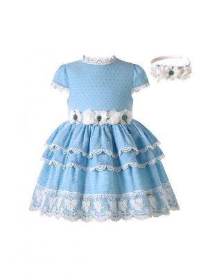 Girls Sweet Blue Dresses with White Flowers and Lace trim + Headband