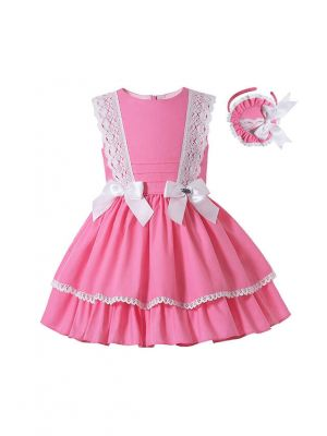 Summer Girls Sweet Coral Pink Garment Dyed Ribbon Bows Layered Dress + Hand Headband