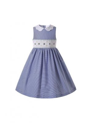 2021 Summer Soft Blue Sleeveless Smocked O-neck Girls Dresses