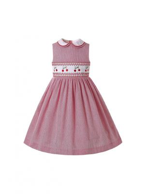 Double-layered Collar Girls Embroidered Red Striped Dress