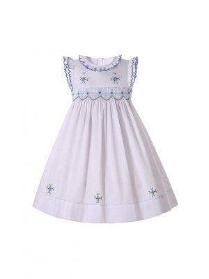 Classical Baby Girls White Smocked Dress