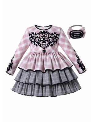 Boutique Autumn Pink & Grey Plaid Layered Girls Dress + Handmade Headband